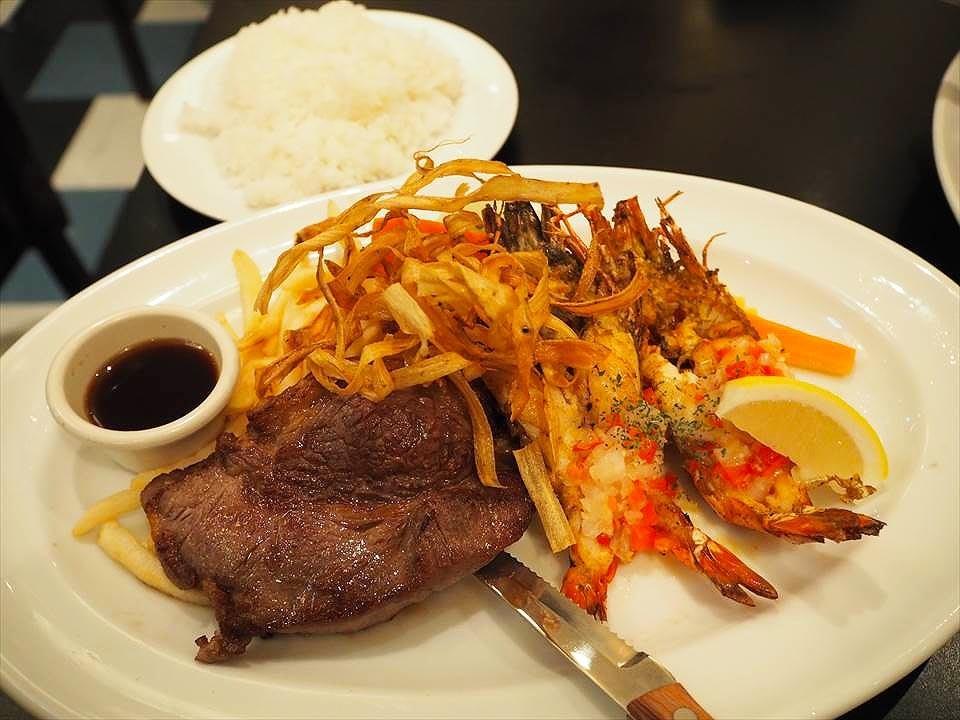 關西機場MARGHERITA KITCHEN-牛排辣蝦套餐