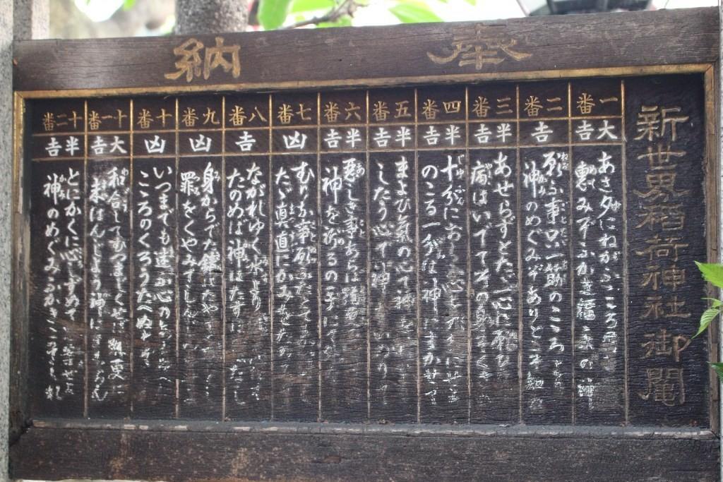 大阪新世界稻荷神社籤詩