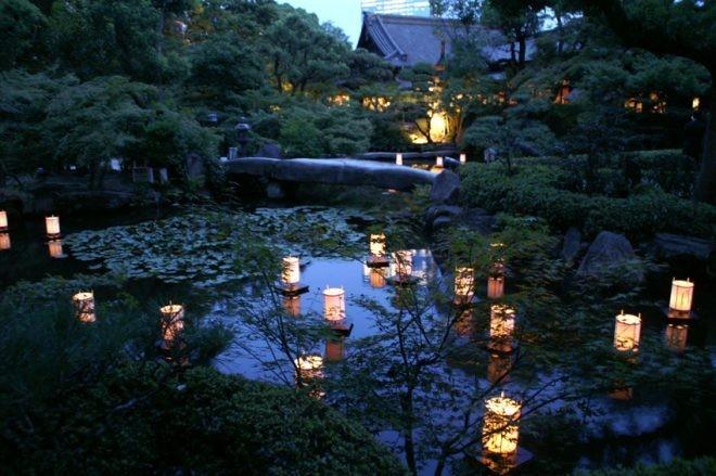 夏 池に浮かぶ灯篭