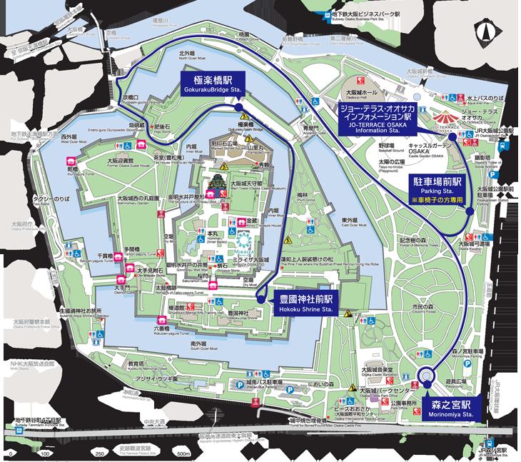 大阪城公園路面小火車-路線圖