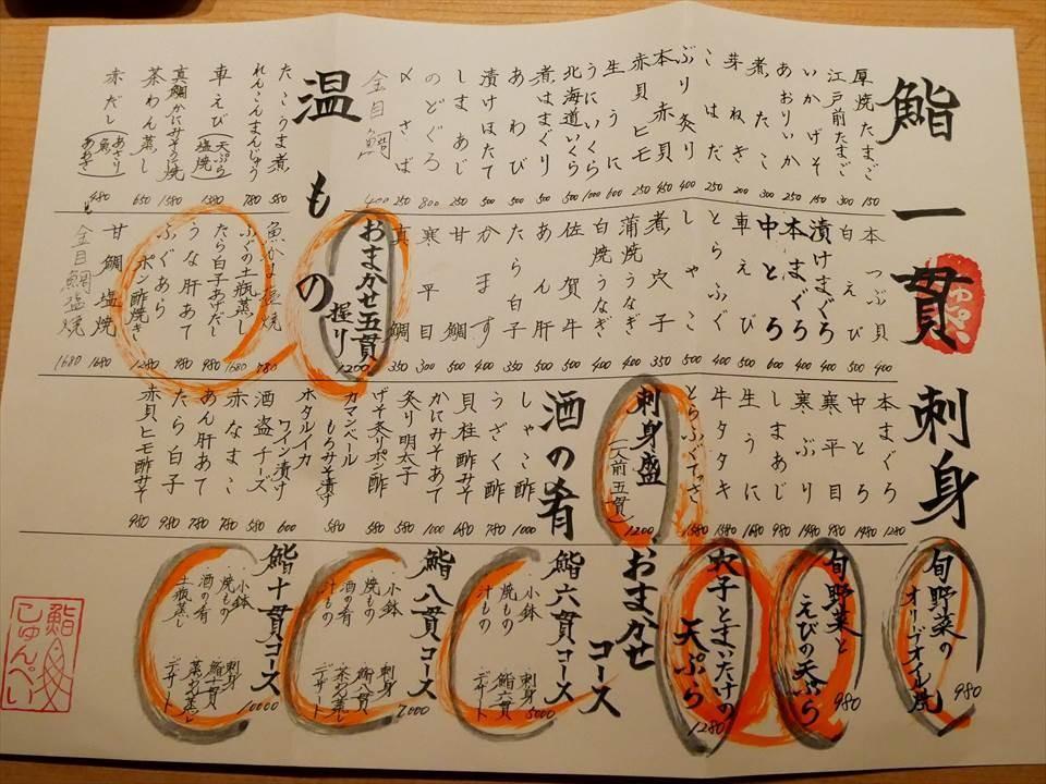 神戶中華街握壽司鮨 Shunpei鮨しゅんぺい-菜單