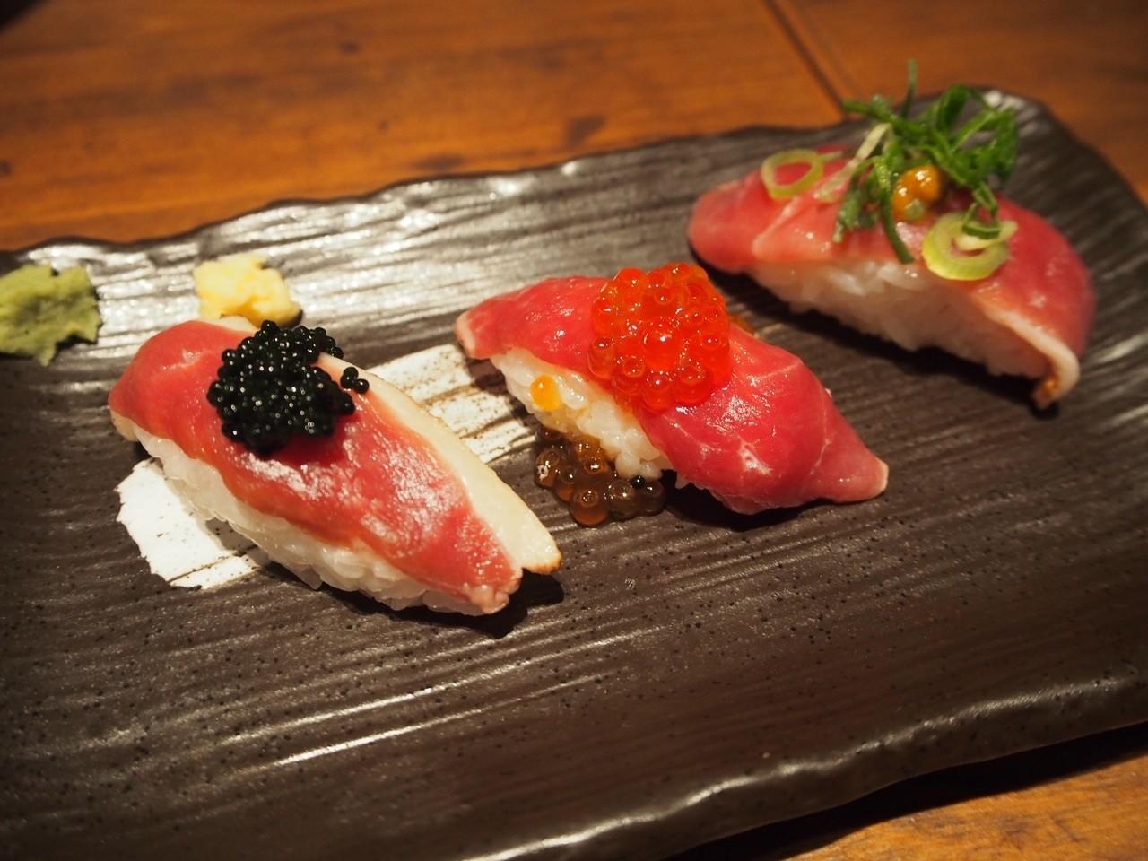 鴨肉壽司三種拼盤